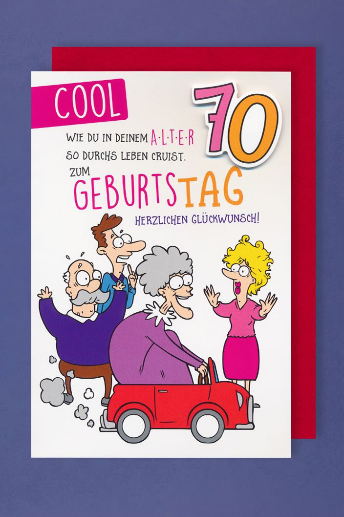 70 Geburtstag Humor Karte Grußkarte Applikation Frauen