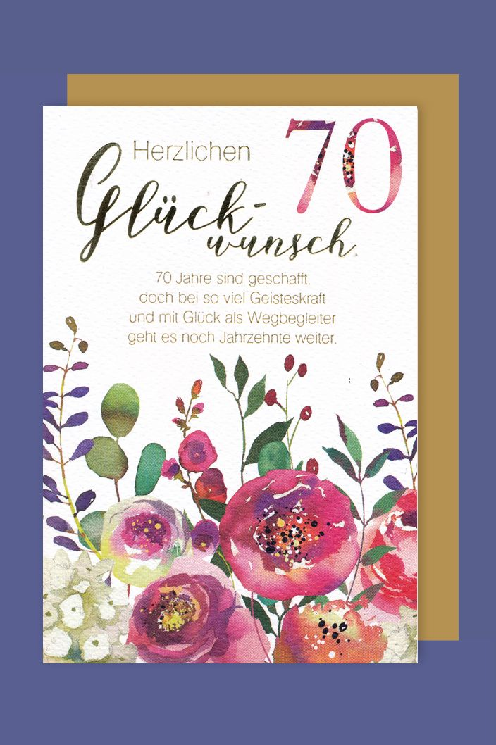 70 Geburtstag Karte Grußkarte Mohnblumen Foliendruck
