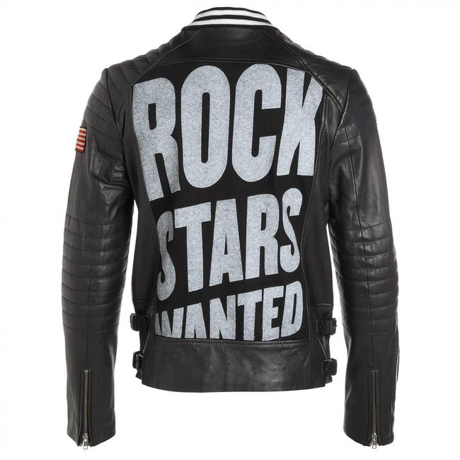 Rockstars & Angels College Men Lederjacke schwarz
