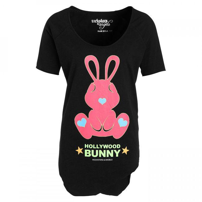 Rockstars & Angels Hollywood Bunny Women T-Shirt Black
