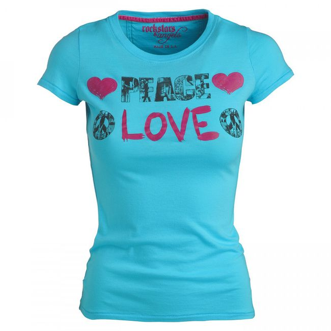 Rockstars & Angels Peace & Love T-Shirt turquoise