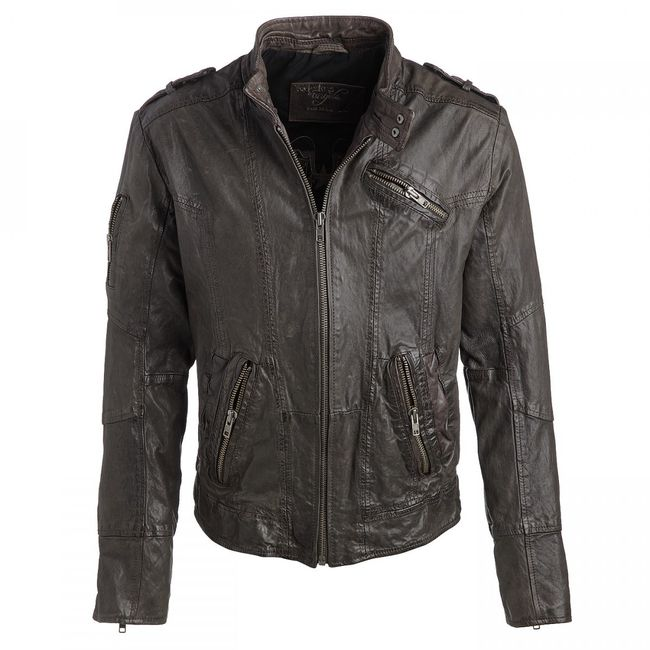 Rockstars & Angels Leather-Jacket black/grey