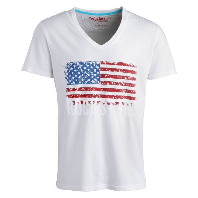 Rockstars & Angels Men T-Shirt Flag white