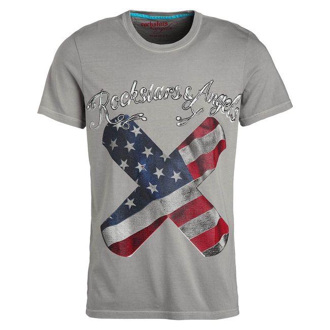 Rockstars & Angels Men T-Shirt Band Aid grey