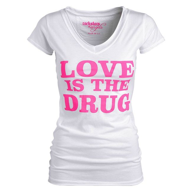 Rockstars & Angels Love is the Drug T-Shirt white/pink