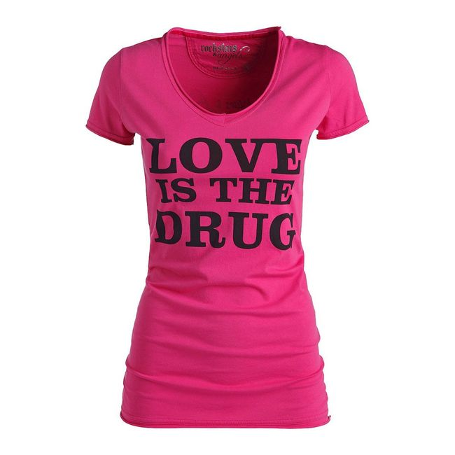 Rockstars & Angels Love is the Drug T-Shirt pink/schwarz Damen