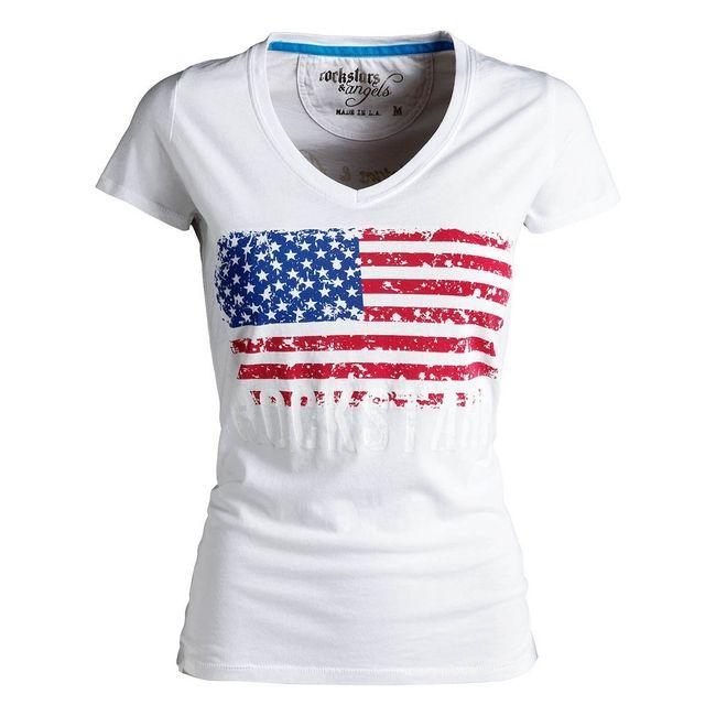 Rockstars & Angels Flag T-Shirt weiß Damen