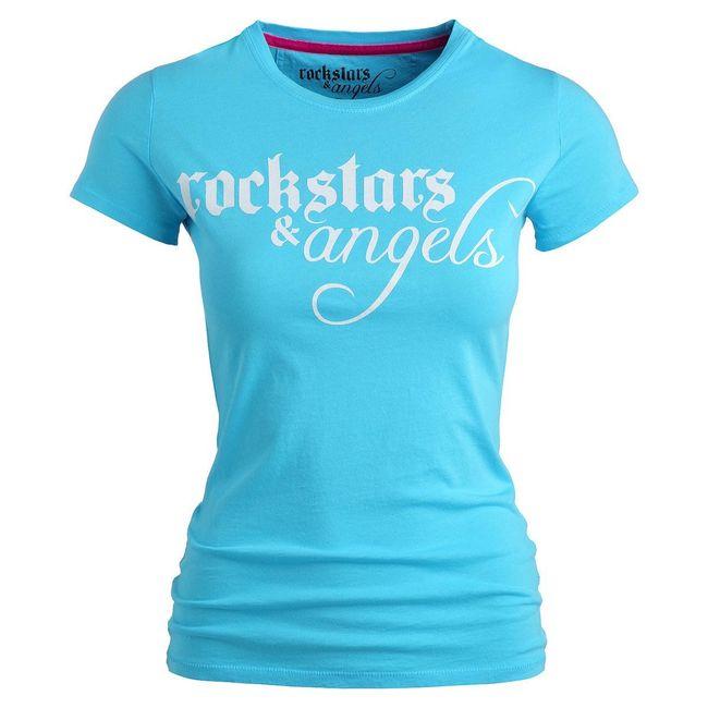 Rockstars & Angels Logo / Round-Neck T-Shirt türkis Damen