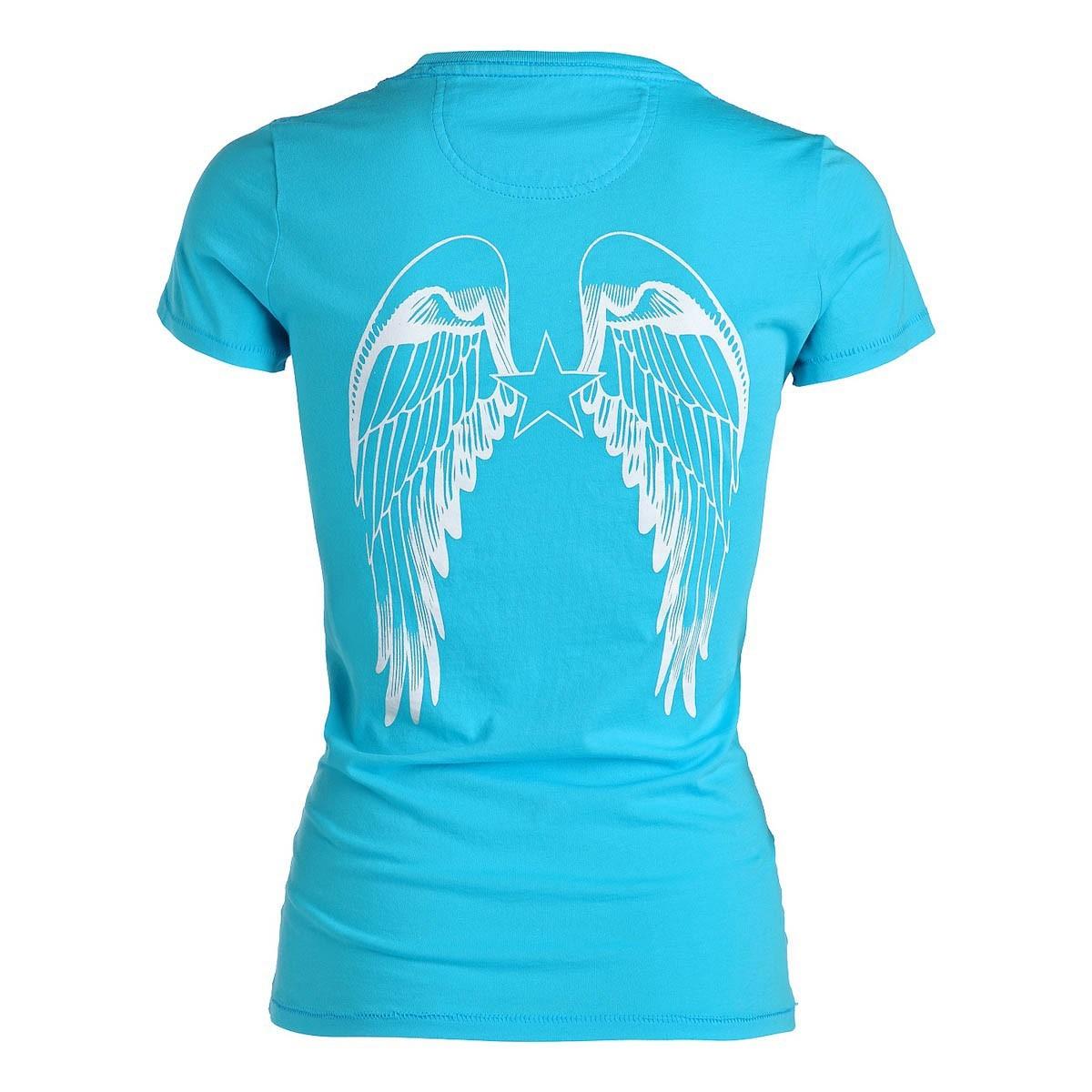 rockstars angels logo t shirt turqoise women t shirts. Black Bedroom Furniture Sets. Home Design Ideas