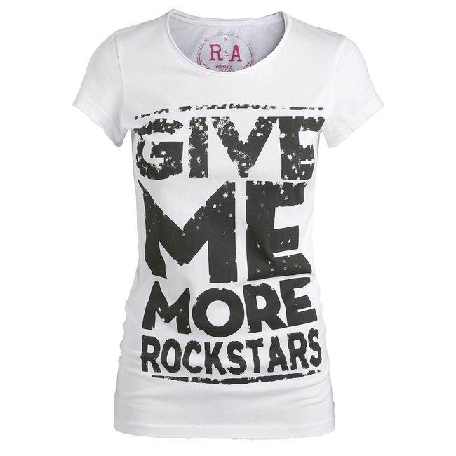 Rockstars & Angels Give me more T-Shirt weiss Damen