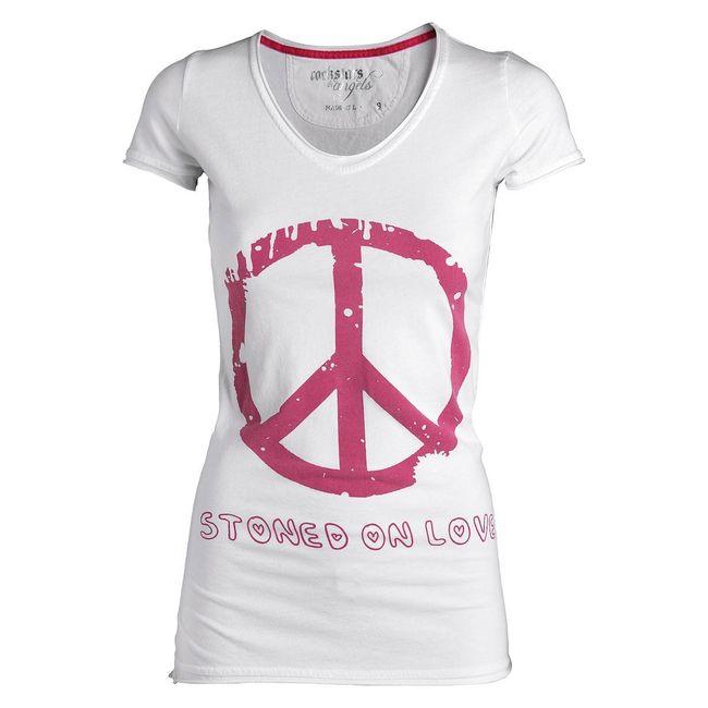 Rockstars & Angels Stoned on Love T-Shirt weiß Damen