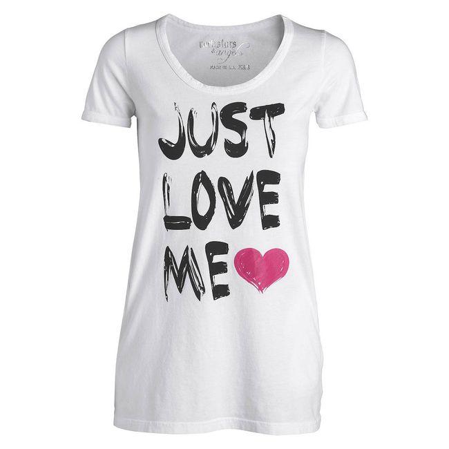 Rockstars & Angels Pocket Tee Just Love me T-Shirt white Women