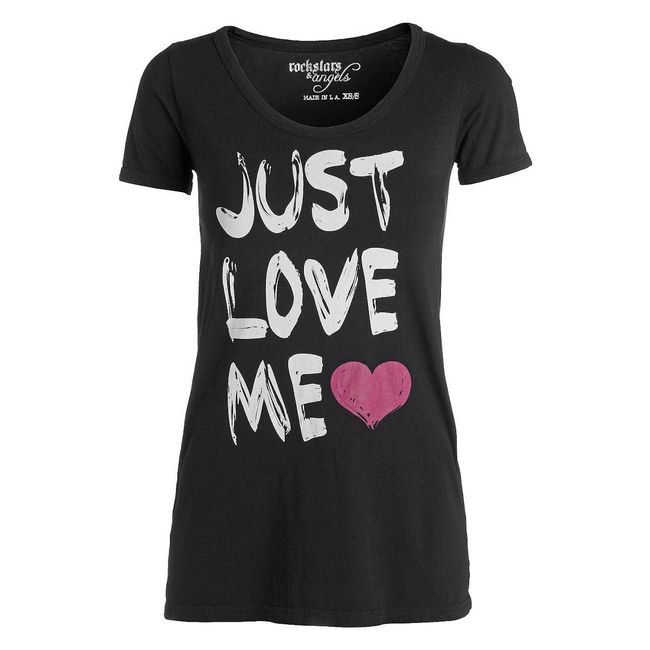 Rockstars & Angels Pocket Tee Just Love me T-Shirt schwarz Damen