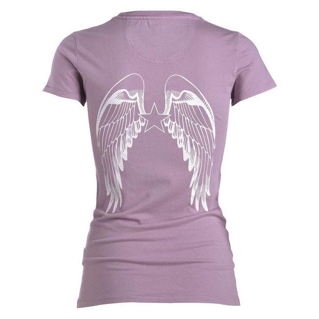 Rockstars & Angels T-Shirt Logo flieder Damen Rundhals