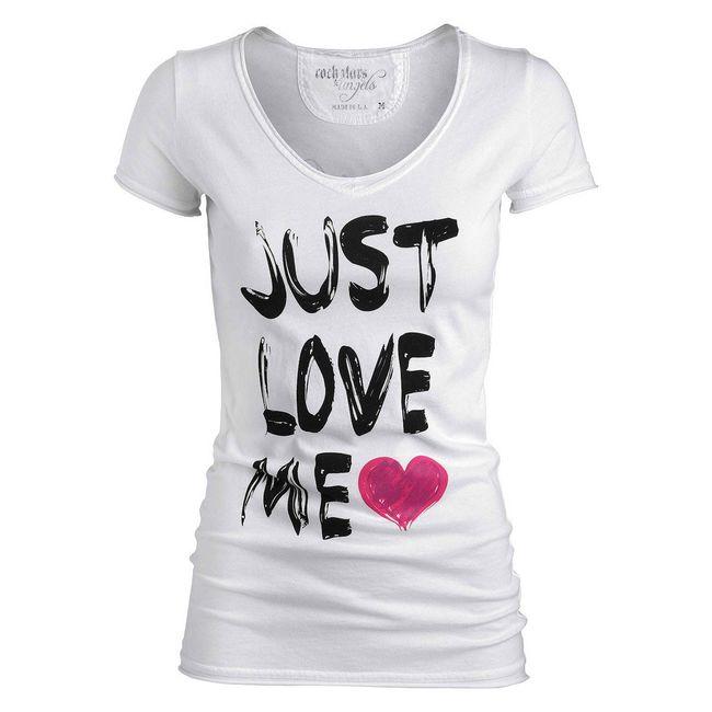 Rockstars & Angels T-Shirt Just Love me weiss Damen Roll-Neck