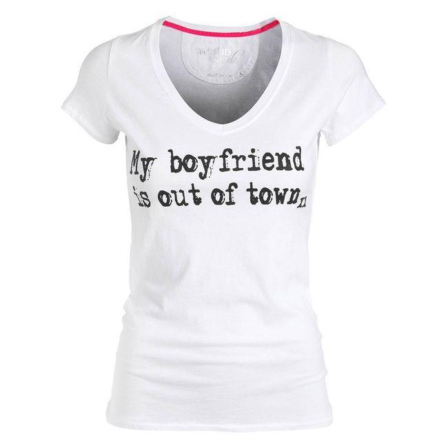 Rockstars & Angels T-Shirt My Boyfriend white Damen V-Neck