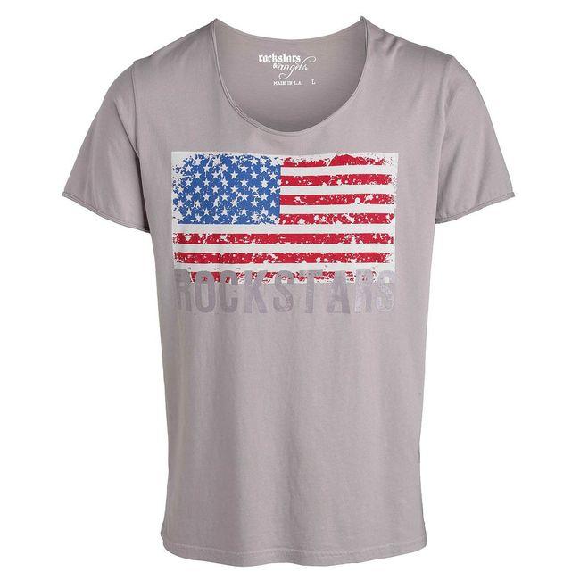 Rockstars & Angels T-Shirt Flag Rock Cut grey Men