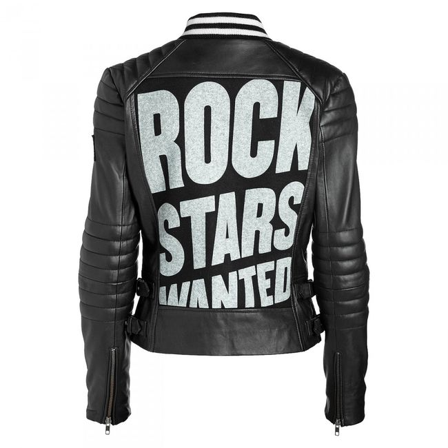 Rockstars & Angels College Women Leather Jacket black