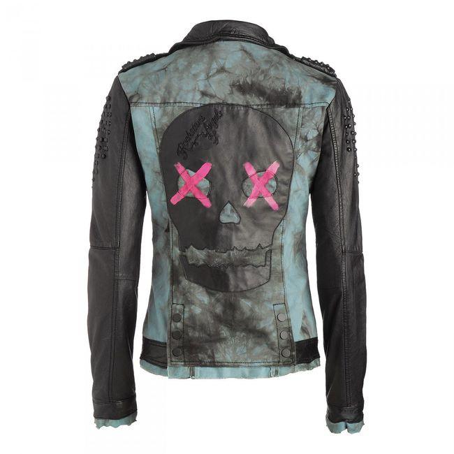 Rockstars & Angels Moto Skull Women Leather Jacket black/green