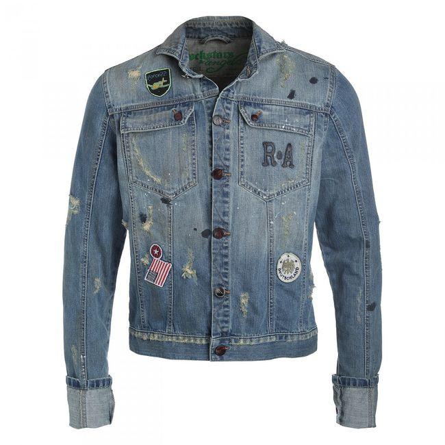 Rockstars & Angels Men Jeansjacke Denim Jacket blue hell