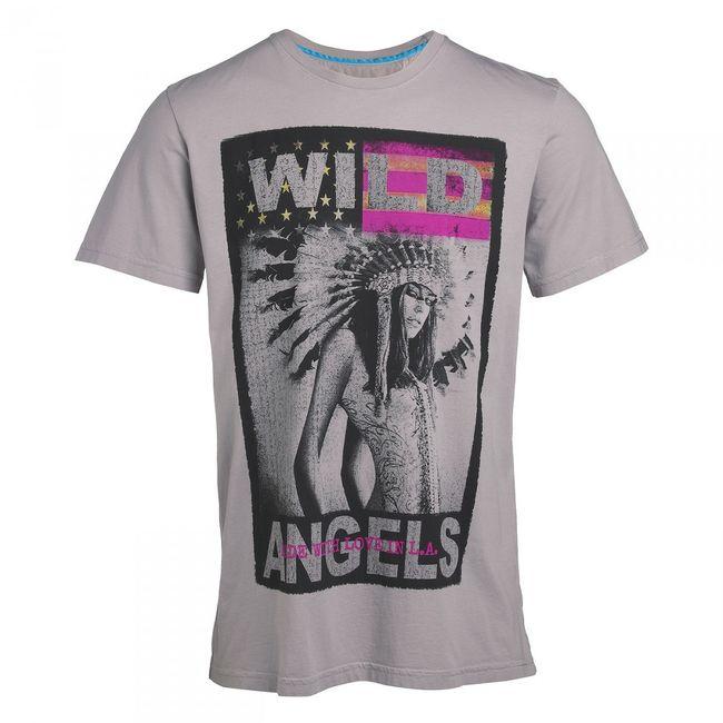 Rockstars & Angels Wild Angels T-Shirt Men grey Round Neck