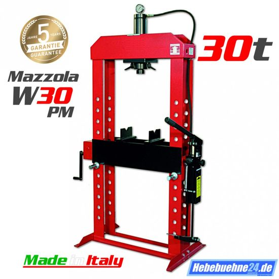 Werkstattpresse 30t, Mazzola W 30PM Pumpe mit Hand + Fußbetätigung  – Bild 1
