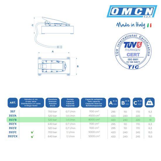Pneumatische Hydraulikpumpe, OMCN Art. 357/B, 520bar – Bild 2