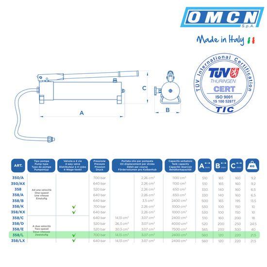Hydraulik Handpumpe 700bar, OMCN 358/L, 4-Wege-Ventil und doppelstufig – Bild 2