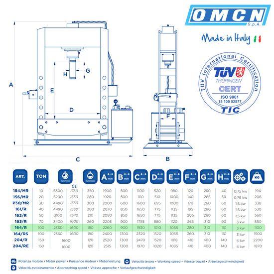 Hydraulikpresse 100t, OMCN 164/R, schnelle Ausführung – Bild 2