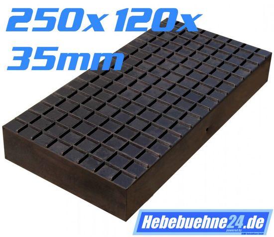 Gummiklotz für Hebebuehnen, Maße 250x120x35mm – Bild 1