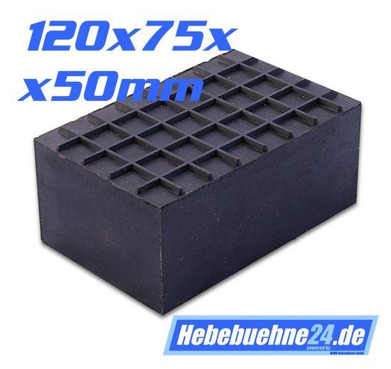 Gummiklotz für PKW Hebebühnen, eckige Ausführung, Vollmaterial, Maße: 120x75x50mm – Bild 1