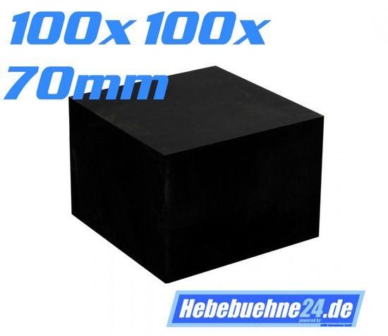 Gummiklotz für Hebebuehnen, Vollgummi, Maße: 100x100x70mm – Bild 1