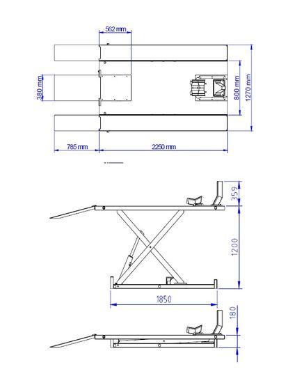 Motorradhebebühne REMO Powerlift 1000, elektr. Hydr. 1000Kg Tragkraft, blau – Bild 3
