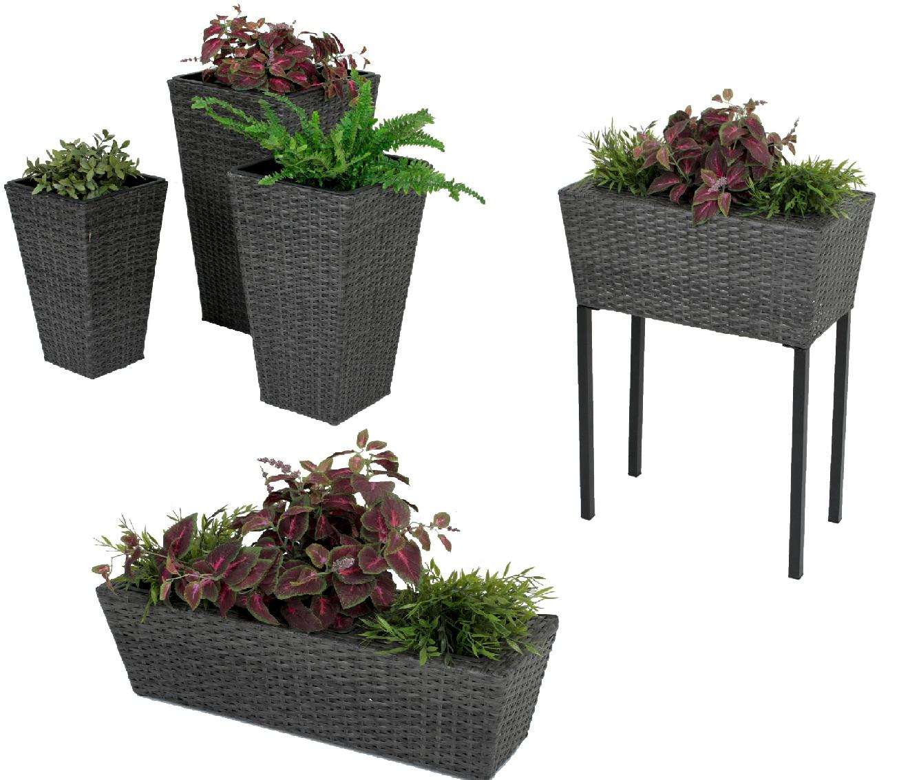 hochbeet pflanztopf balkonk sten rattan blumentopf bertopf pflanzk bel topf ebay. Black Bedroom Furniture Sets. Home Design Ideas