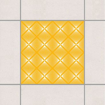 Produktfoto Fliesenaufkleber - Zartes Vintage Caro Melon Yellow 10x10 cm - Fliesensticker Set Gelb