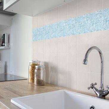Product picture Tile Sticker - Zebra Design Light Blue...
