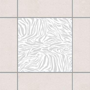 Produktfoto Fliesenaufkleber - Zebra Design Light Grey 10x10 cm - Fliesensticker Set Grau