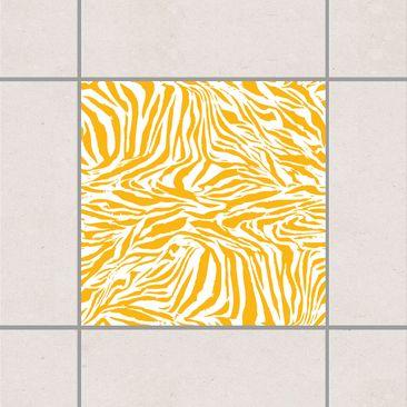 Produktfoto Fliesenaufkleber - Zebra Design Melon Yellow 10x10 cm - Fliesensticker Set Gelb