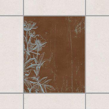 Produktfoto Fliesenaufkleber - Blaue Blumenskizze 25x20 cm - Fliesensticker Set