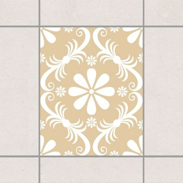 Produktfoto Fliesenaufkleber - Blumendesign Light Brown 25x20 cm - Fliesensticker Set Braun