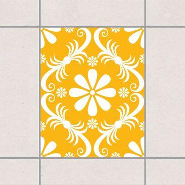 Produktfoto Fliesenaufkleber - Blumendesign Melon Yellow 25x20 cm - Fliesensticker Set Gelb
