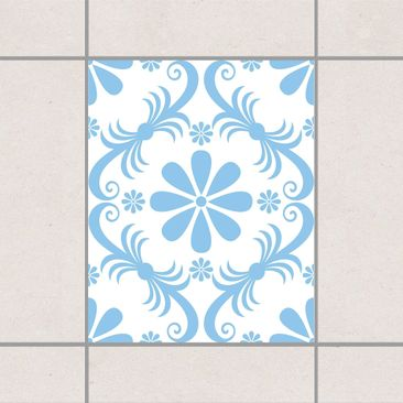 Produktfoto Fliesenaufkleber - Blumendesign White Light Blue 25x20 cm - Fliesensticker Set Blau
