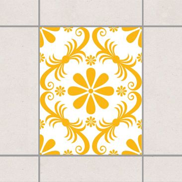 Produktfoto Fliesenaufkleber - Blumendesign White Melon Yellow 25x20 cm - Fliesensticker Set Gelb