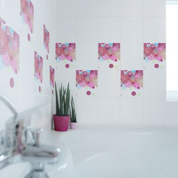 Product picture Tile Sticker - Roses and Bubbles 25cm x...
