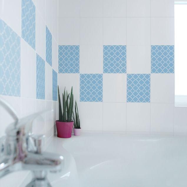 Produktfoto Fliesenaufkleber - Traditional Quatrefoil Light Blue 25x20 cm - Fliesensticker Set Blau