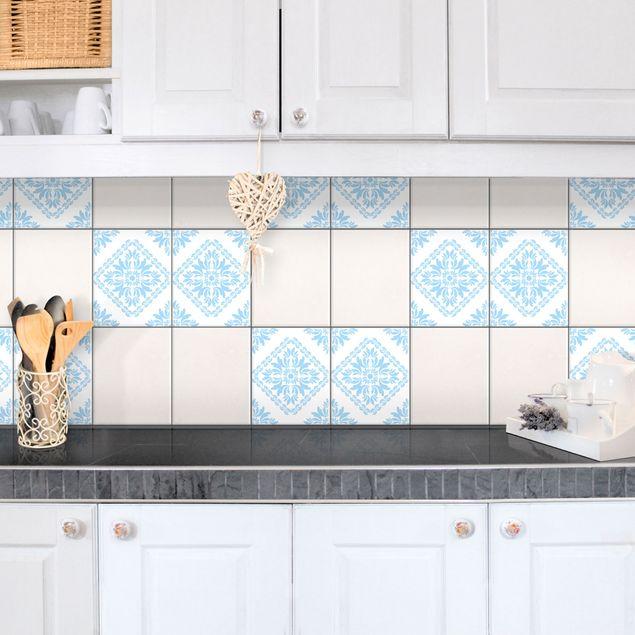 Produktfoto Fliesenaufkleber - Vera Rosa White Light Blue 25x20 cm - Fliesensticker Set Blau