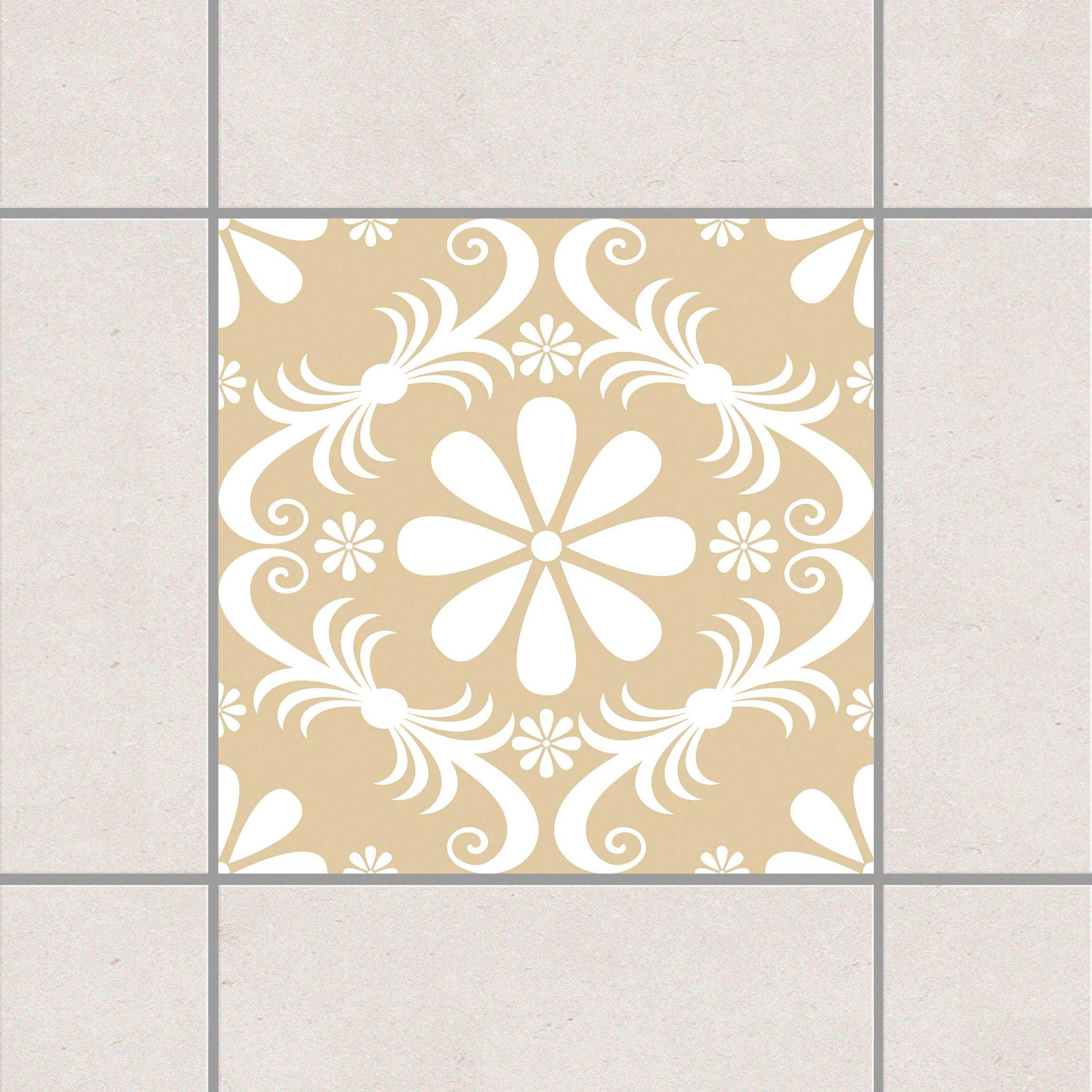 Fliesenaufkleber blumendesign light brown 15x15 cm for Fliesensticker 15x15