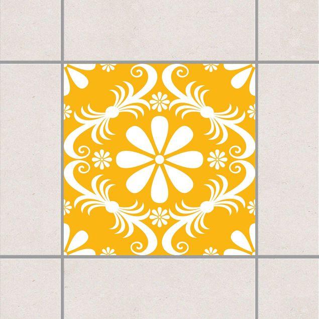 Produktfoto Fliesenaufkleber - Blumendesign Melon Yellow 15x15 cm - Fliesensticker Set Gelb