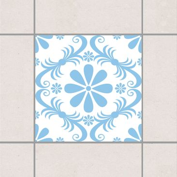 Produktfoto Fliesenaufkleber - Blumendesign White Light Blue 15x15 cm - Fliesensticker Set Blau
