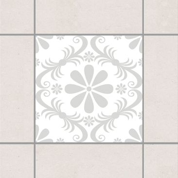 Produktfoto Fliesenaufkleber - Blumendesign White Light Grey 15x15 cm - Fliesensticker Set Grau